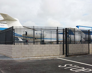 Apex railings and gates at Luton airport