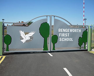 Bespoke steel gates with school logo in Evesham