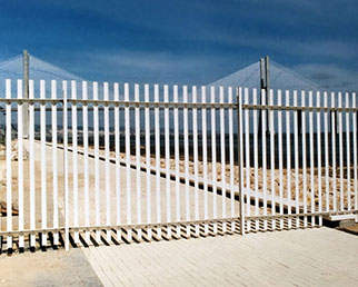 Construction site boundary palisade fence in Lisbon