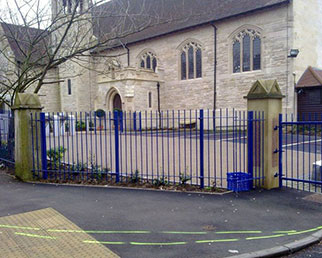 Church railings and gates coated RAL 5010 in Rochdale
