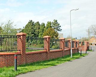Bespoke railings between brick piers in Birmingham